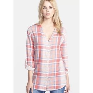 SOFT JOIE DANE PINK PLAID TOP SHIRT SZ M